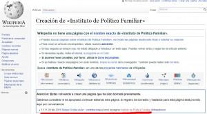 Misteriosa desaparición de la página del IPF en Wikipedia (28 de febrero de 2016).
