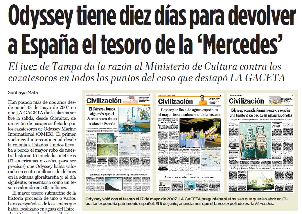 Noticia de Santiago Mata en La Gaceta sobre Odyssey el 5 de juno de 2009.