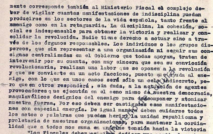 Circular de Eduardo Ortega y Gasset, Fiscal General de la República, 5.1.1937.