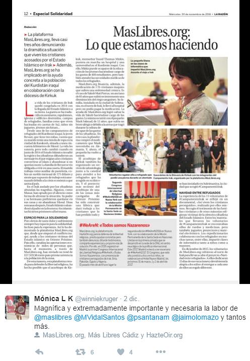 Campaña del Yunque (MásLibres) en La Razón el 30 de noviembre de 2016.