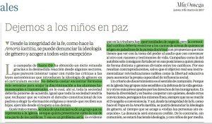 Editorial de Alfa y Omega descalificando a Hazte Oír.