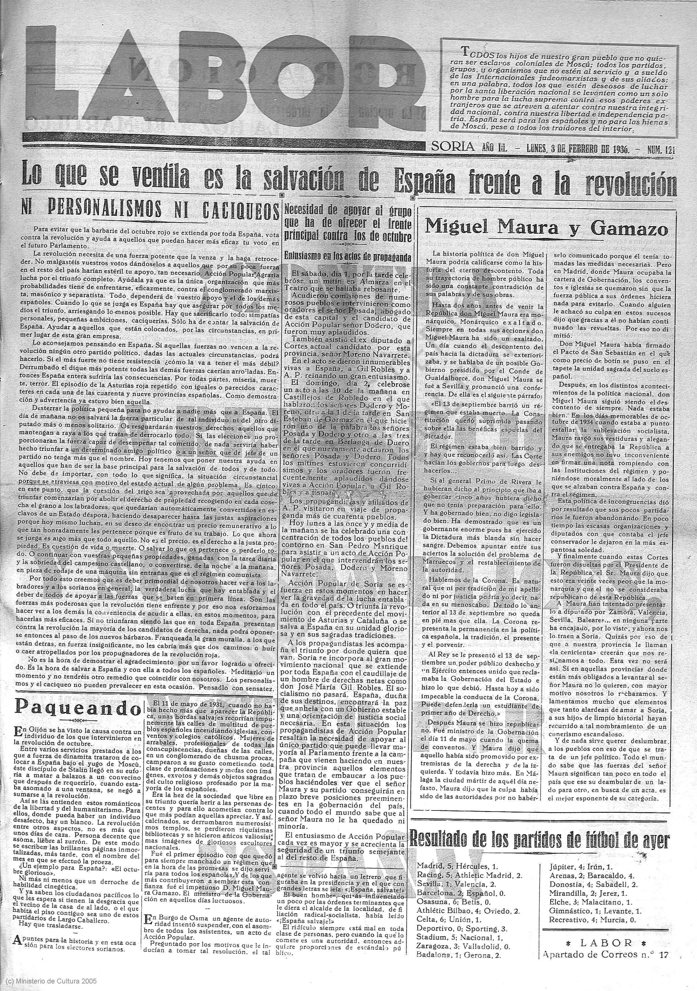 Primera página del periódico Labor (Soria, 3 de febrero de 1936).
