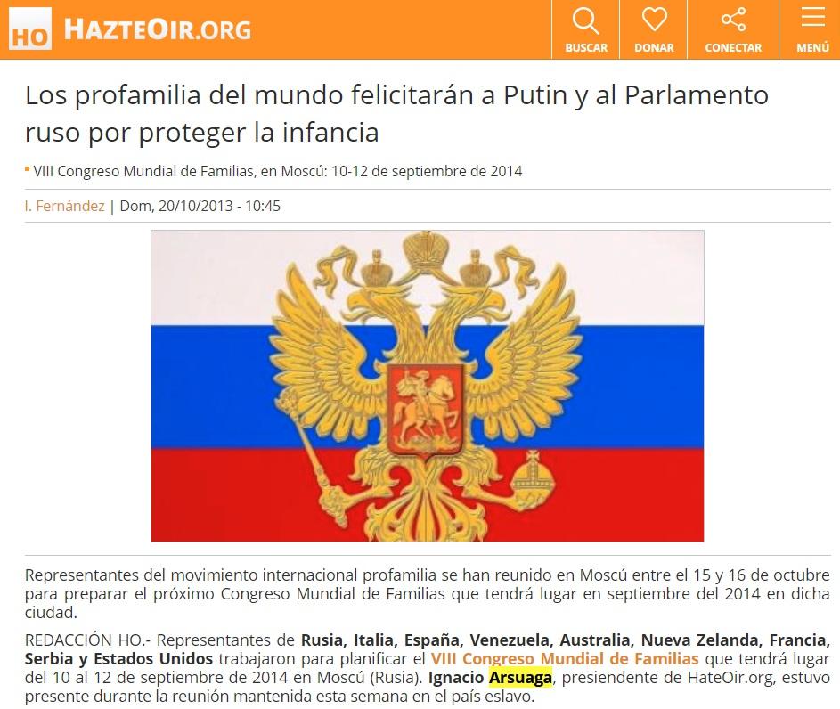 Los elogios de Arsuaga a Putin vienen de lejos.