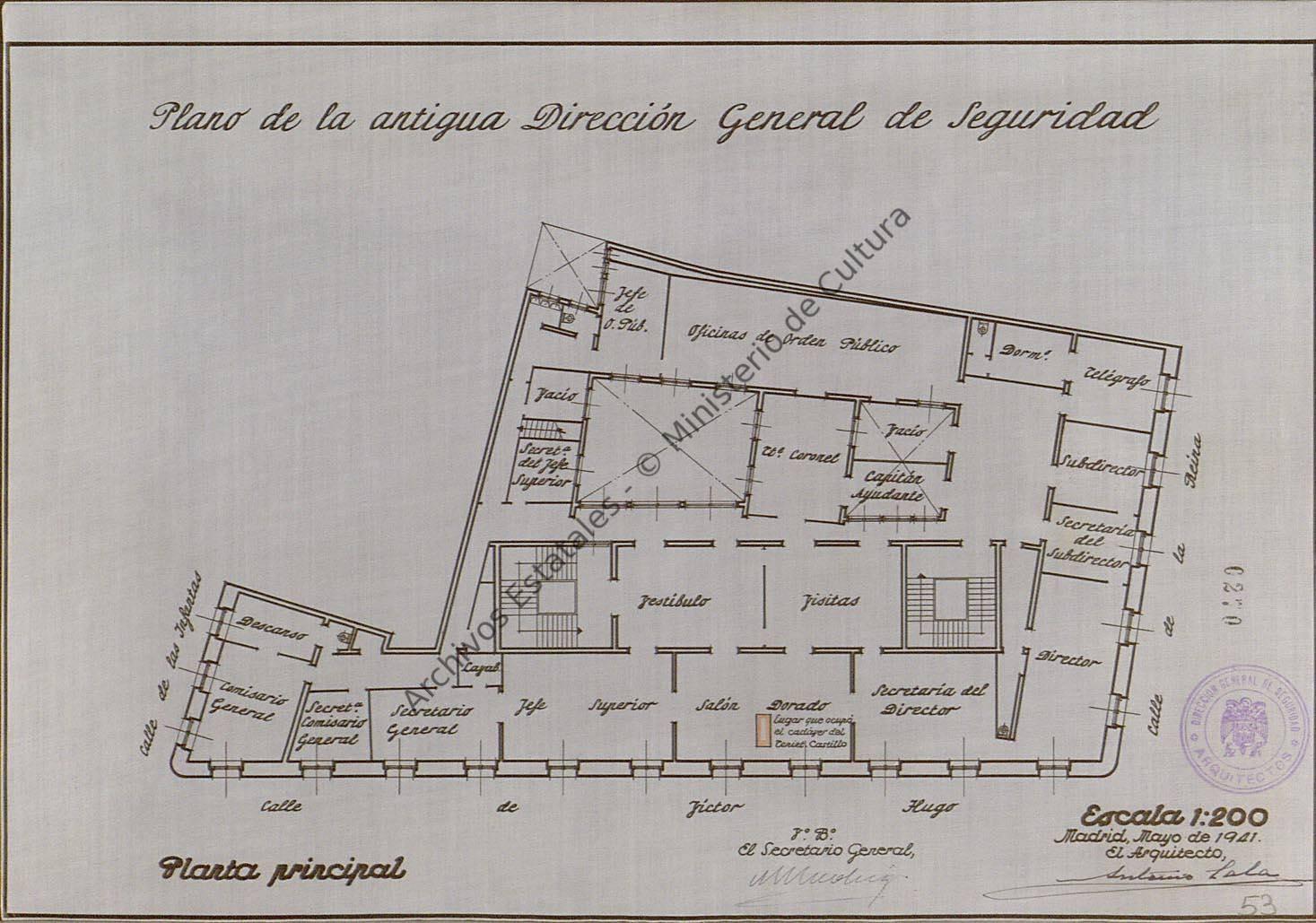 Plano de la que fue DGS durante la Guerra Civil.