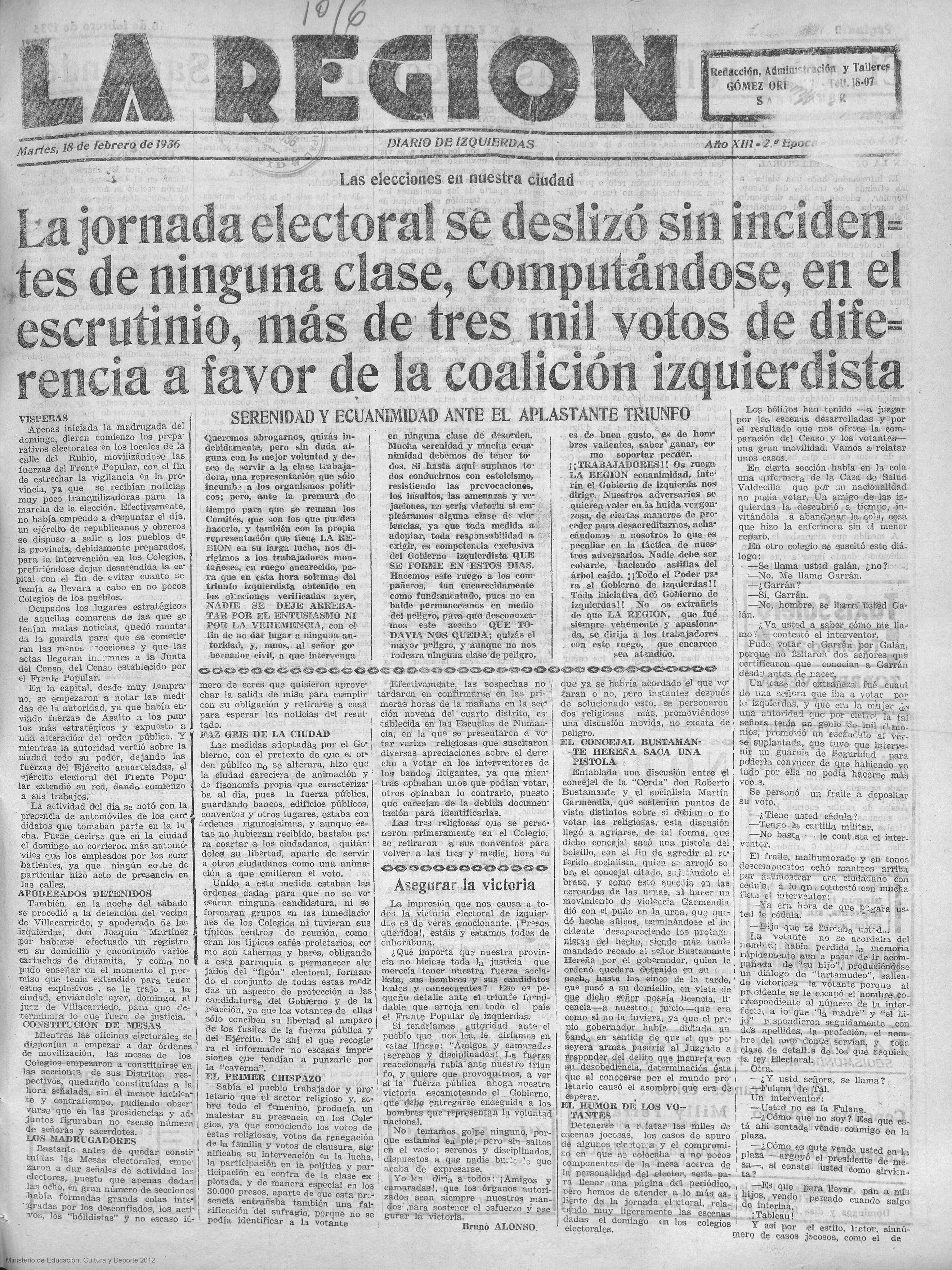 18.2.1936. El diario izquierdista La Región de Santander da por victorioso al Frente Popular.
