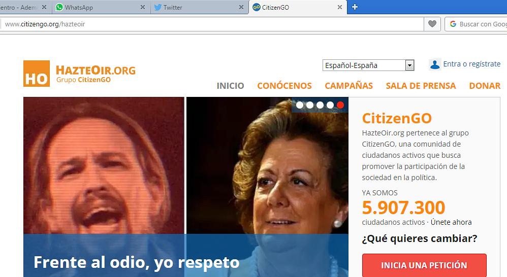 La web hazteoir.org redirige a la de CitizenGO.