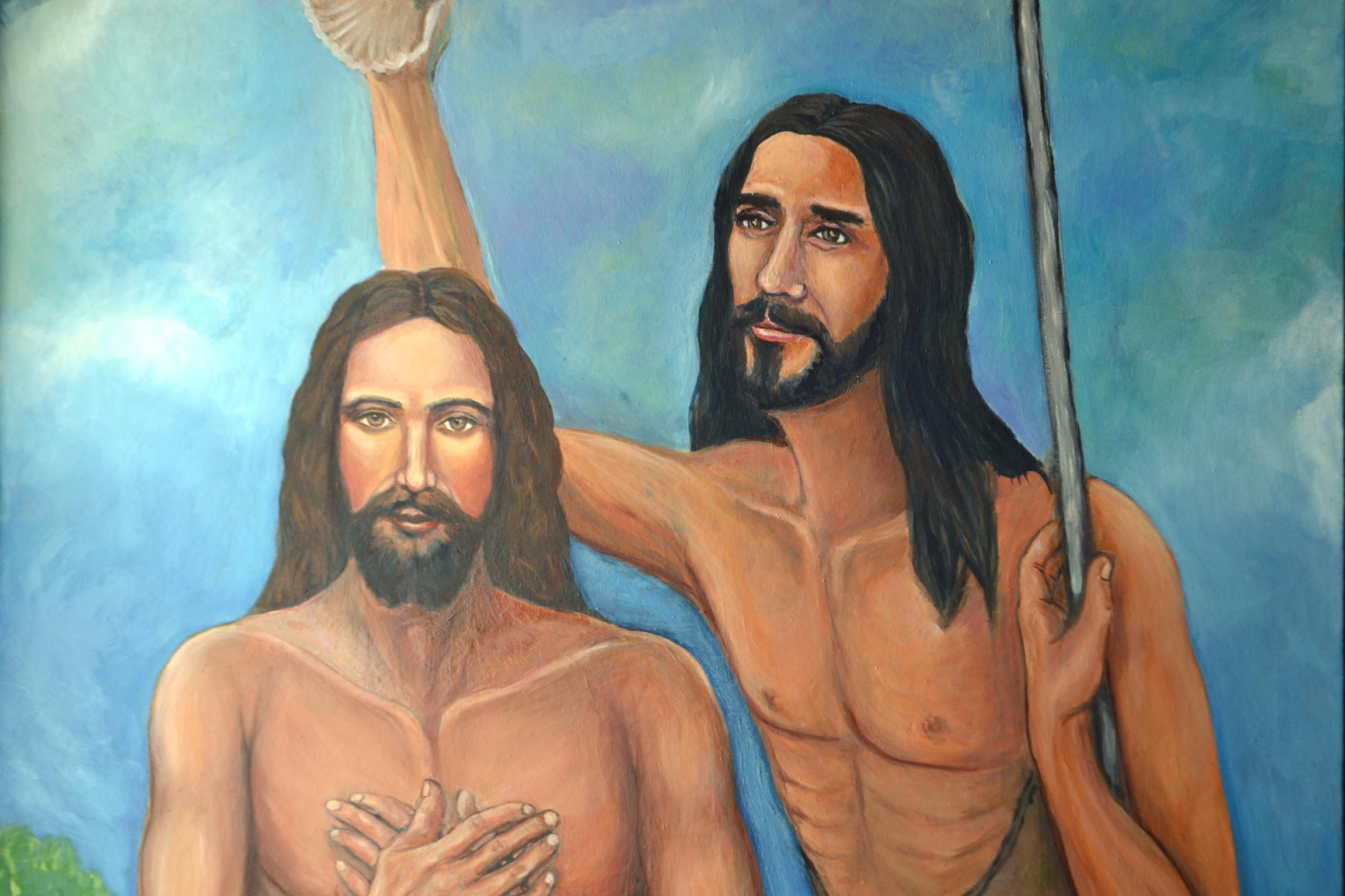 Detalle de El bautismo del Señor, óleo de Mariam Gutiérrez Jerez.